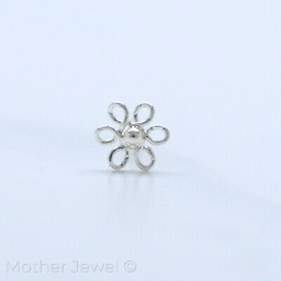 Real Solid 925 Sterling Silver 4Mm Daisy Flower Nose Piercing Stud Pin Bone