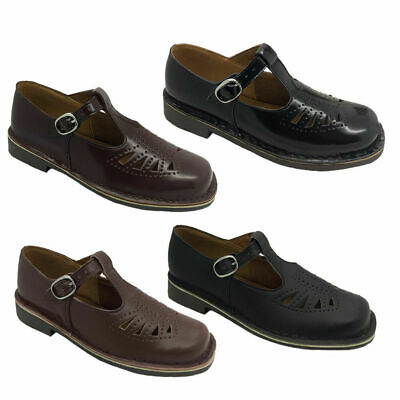Ladies School Shoes Wilde Jenny Leather T Bar Black/Brown Sizes 5-12 New