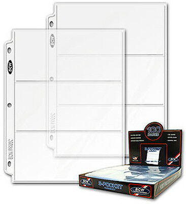 200 BCW 3 Pocket Currency Binder Pages