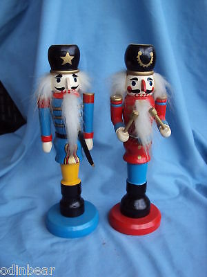 2 PAINTED WOOD Soldier Drummer CANDLESTICK HOLDERS pair