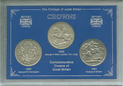 GB British Commemorative Crowns Display 1935 1937 1951 UK Crown Coin Gift Set