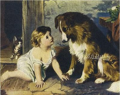 "CAN'T YOU TALK? Victorian BABY Collie CANVAS Giclee Art Print - LARGE 19"" x 13"""
