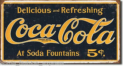 COKE - 1910 Logo Weathered Coca-Cola Soda Tin Metal Sign