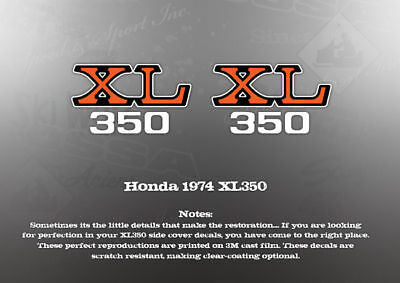 Honda 1974 Xl350 Side Cover Decals Graphics Like Nos