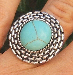 Turquoise Gemstone Ring Silver Round Blue Adjustable Macy's Qvc Usa Jewelry Big