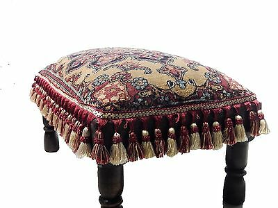 "ANTIQUE KIRMAN RUG MADE INTO AN OTTOMAN/STOOL w/ TASSELS 22.5"" w by 13.5"" h"