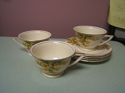 Edwin Knowles Hostess China KNO395 3 cups 4 saucers