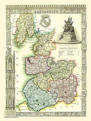 County Map Of Lancashire 1836 By Thomas Moule