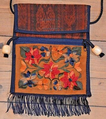 Handmade Brown Red South American Bag Purse With Embroidered Flowers, Guatemala