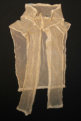 "Antique Edwardian Cotton Net Yoke & High Neck Collar 19 1/2"" Length 14' Neck"