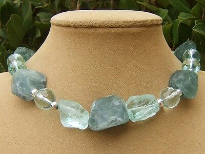 Fluorite Teal Faceted Raw Aqua Blue Quartz Rough Turquoise Silver Necklace Big