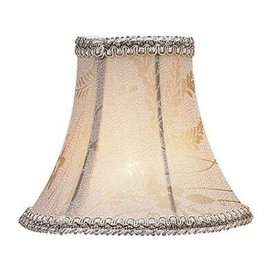 Livex 6 in. Wide Clip On Chandelier Shade, Taupe Floral Silk, White Fabric Linin