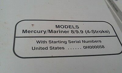MERCURY Mariner Outboards Factory Manual 8hp 9.9hp 1997