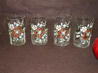 Antique Victorian Hand Painted Enamel Floral Set Of Four Glasses Tumblers