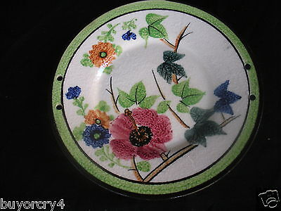 Vintage Hand-Painted Moriyama Mori-Machi Plate~With Colorful Flowers~Japan