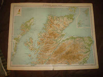 HUGE 1922 THE TIMES ATLAS NORTHERN SCOTLAND MAP ORKNEY SHETLAND ISLANDS SuperbNR