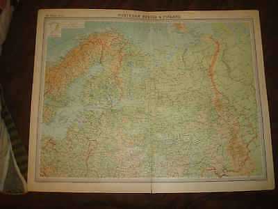 Huge Antique Northern Russia Finland 1922 The Times Atlas Map Arctic Regions Nr