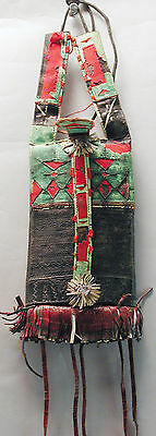 African Leather Pouch Wearable Bag Colorful Wall Decoration Tuareg Fringe Ethnix