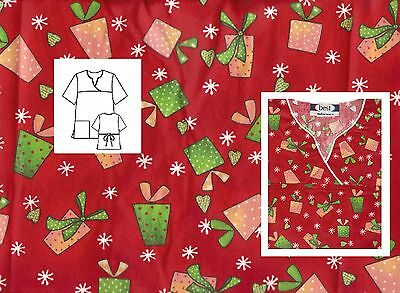 NEW Scrubs  ~  Christmas /  Winter  Print Scrub Top  ~  M  ~  Gift Wrap Red