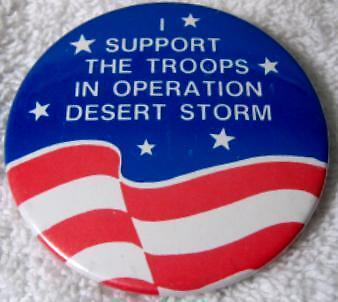 1990-1991 I Support Troops in Operation Desert Storm Celluloid Pin/Pinback