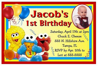 BABY SESAME STREET ELMO BIRTHDAY PARTY INVITATIONS w/photo