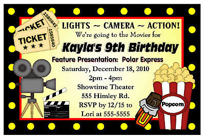 Movie Night Birthday Party Invitations - Hollywood