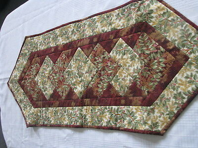 "New Handmade Christmas Berries  Quilted Table Runner 39"" X 14.5"""