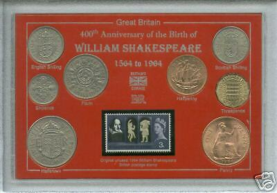 400th Anniversary of the Birth of William Shakespeare Coin & Stamp Gift Set 1964