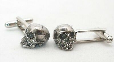 Human Skull Cufflinks in Fine English Pewter, hand made, gift boxed