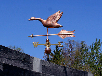 Large Goose Weathervane W/copper Balls & Brass Directionals Made In The Usa #383