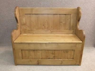 Pine Monks Bench Settle Pew Handmade In Great Britain