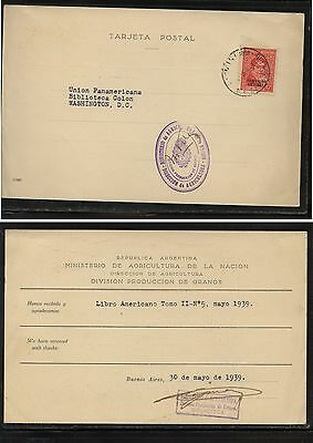 Argentina  official post card to Washington  DC 1939