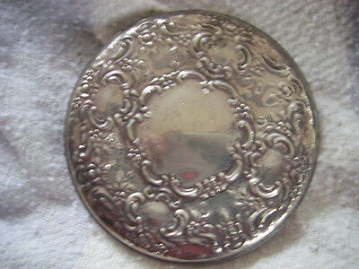 VINTAGE ORNATE STERLING POCKET MIRROR  MIRROR HAS LOSS TO SILVERING AROUND EDGES