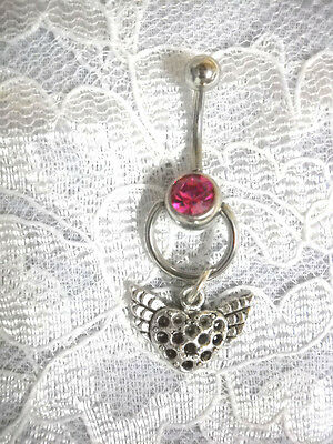 PINK CRYSTALS ON BRASS KNUCKLES DUSTER CHARM w PINK CZ BELLY BAR NAVEL RING