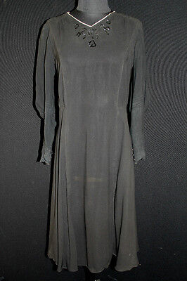 Rare French Vintage 1920's-1930's Sheer Black Rayon Dress With Sequins Size 8-10