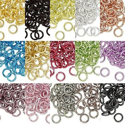 Lot of 40 10mm 14 Gauge Bright Colored Aluminum Open Round Jumprings Jump Rings