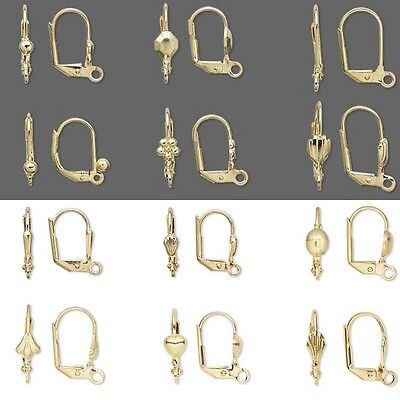 100 Gold Plated Hinged Leverback Earring Jewelry Findings with Loop & Lever Back