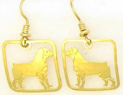 Rottweiler Jewelry Gold Dangle  Earrings by Touchstone