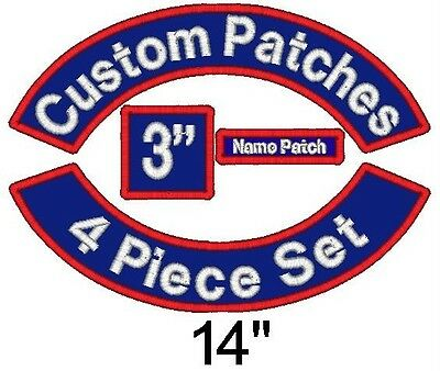 """4 Piece Custom Embroidered Patch Set - Rockers Name MC Square - 14"""" Motorcycle"""
