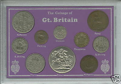 1945-1951 King George VI (Second Type) GB Crown Coin Gift Set in Display Case