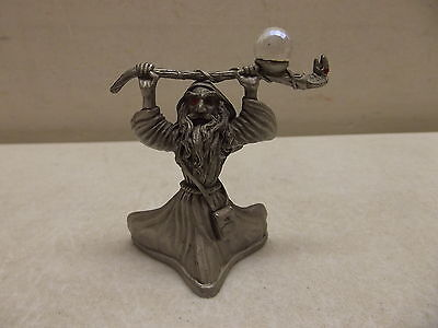 VINTAGE 1987 SPOONTIQUES PEWTER WIZARD W/SNAKE STAFF AND CRYSTAL BALL CMR 589