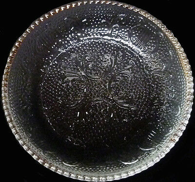 Vintage 1950's Jeannette Glass Clear Crystal w/Gold Trim Harp Pattern Coaster /s