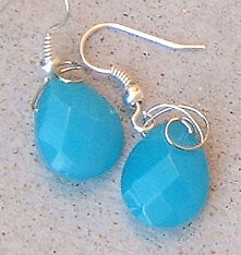 Turquoise Blue Quartz Beads Gem Silver Gold Or Bronze Detail Earrings Facets