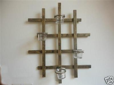 Decorative Iron Candle Holder Sconce Wall Art  Vertical Brass Color