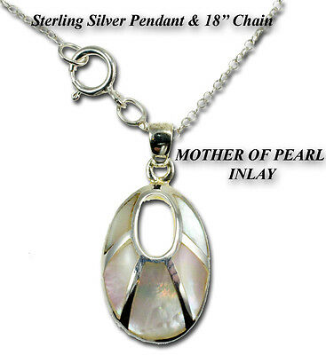 Sterling Silver MOTHER OF PEARL PENDANT WITH 18'' CHAIN MOTHER OF PEARL INLAY