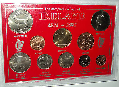 Republic of Ireland The Coinage Eire Irish Decimal Pre Euro Cased Coin Gift Set