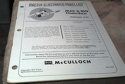 1970  McCULLOCH  MAC 2-10G  Chain Saw  Parts Book