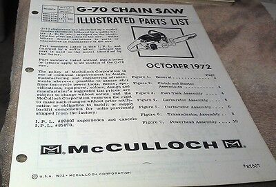 1972  McCULLOCH  G70 Chain Saw  Parts Book