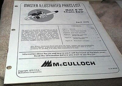 1970  McCULLOCH MAC 4-10  Chain Saw  Parts Book