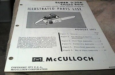 1971  McCULLOCH Super 2-10A  Chain Saw  Parts Book
